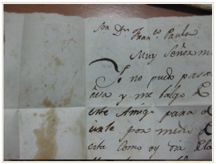 Fotografía de parte de la misteriosa nota, oculta en el forro desde hace dos siglos.