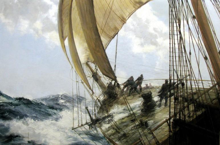 Fragata del siglo XVIII, de aquella era en la que los barcos eran de madera y los hombres de hierro. -Reproducción de un cuadro de Geoff Hunt-.